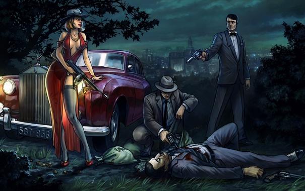 Фото обои машина, девушка, ночь, оружие, мужики, мафия, Mafia