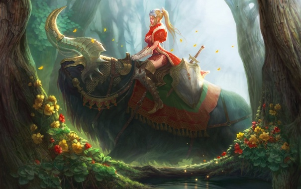 Фото обои лес, девушка, цветы, меч, существо, арт, рога