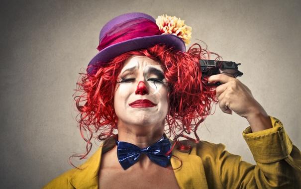 Фото обои пистолет, шляпа, клоун, лук, самоубийство, gun, sad