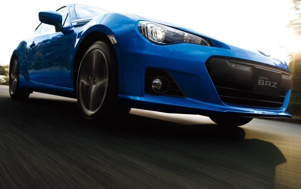 Фото обои Дорога, Синий, Subaru, Машина, Движение, Машины, Car