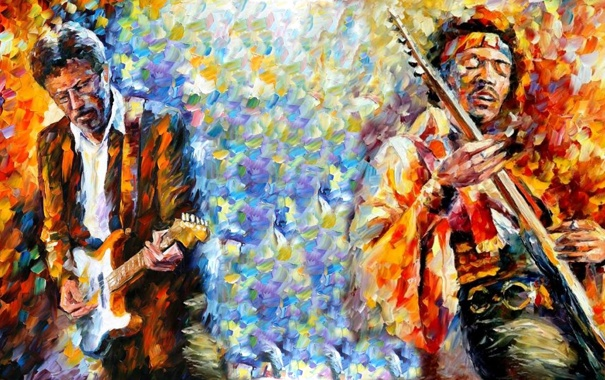 Фото обои Картина, гитарист, живопись, искусство, певец, композитор, Jimi Hendrix