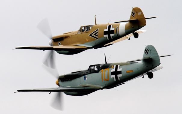 Фото обои небо, истребители, пара, самолёты, WW2, немецкие, Мессершмитты Bf.109