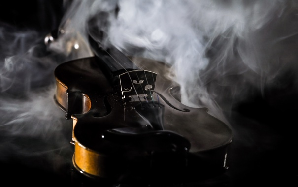 Фото обои макро, музыка, скрипка, дым