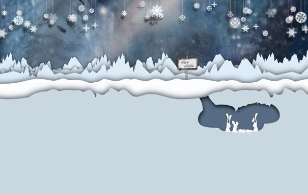 Фото обои слои, скалы, Новый год, табличка, семья, зайцы, снежинки