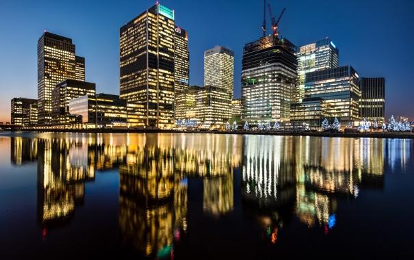 Фото обои свет, ночь, город, отражение, река, Англия, Лондон