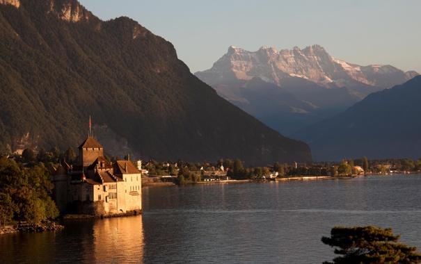 Фото обои небо, горы, озеро, Швейцария, Switzerland, Женева, Geneva
