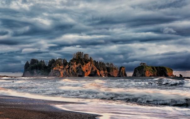Фото обои Ла Пуш, La Push, скалы, Olympic National Park, Вашингтон, Тихий океан, побережье
