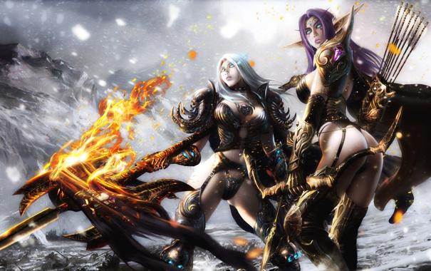 Фото обои снег, горы, оружие, огонь, Девушки, доспехи, лук
