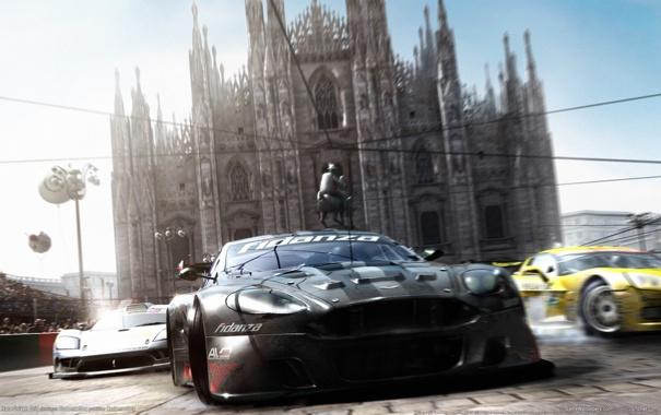 Фото обои машины, Италия, Race Drive, миланский собор