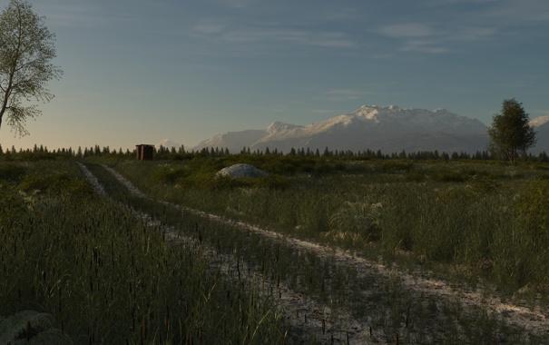 Фото обои дорога, поле, трава, деревья, горы, арт, постройка