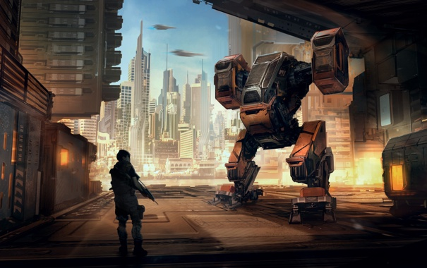 Фото обои город, человек, робот, небоскребы, порт, охрана, погрузчик