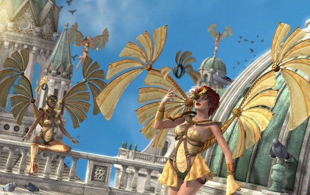 Фото обои крылья, Девушки, стимпанк, механика