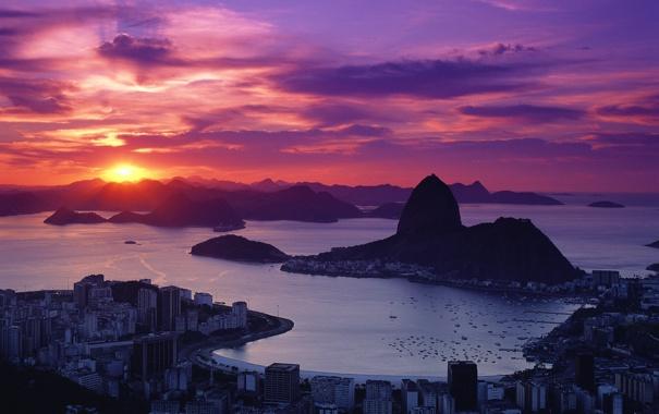 Фото обои море, горы, восход, дома