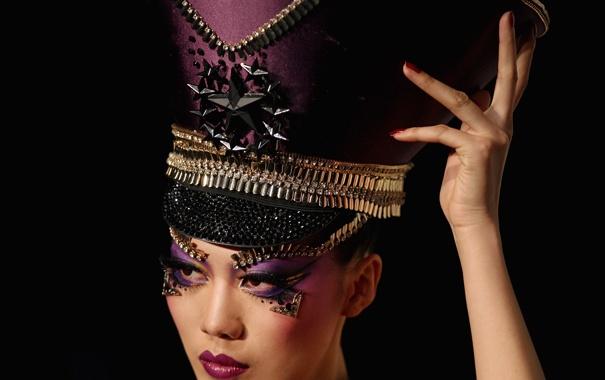 Фото обои sexy, hat, oriental, makeup