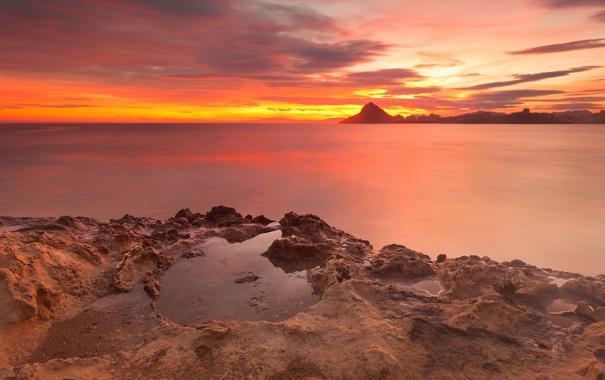 Фото обои Мурсия, скалы, Испания, средиземное море, красное небо, Aguilas, Antonio Carrillo Lopez Photography