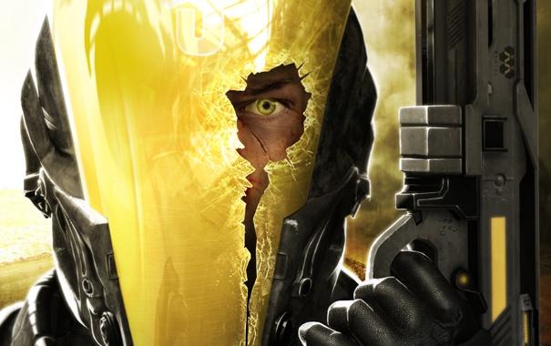 Фото обои стекло, трещины, глаз, пистолет, оружие, дыра, шлем