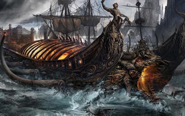 Фото обои волны, огонь, магия, корабль, парусник, голова, фэнтези