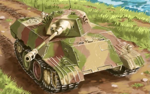 Фото обои арт, леопард, танк, leopard, немецкий, VK 1602, экспериментальный
