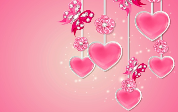 Фото обои love, design, pink, flowers, hearts, sparkle, butterflies