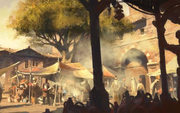 Фото обои дерево, здание, рынок, базар, Assassin's Creed: Revelations, истамбул
