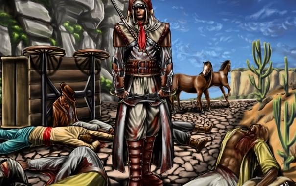 Фото обои оружие, скалы, лошади, арт, повозка, кактусы, assassins creed