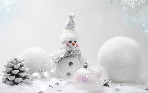 Фото обои зима, шарики, снег, украшения, фон, шары, игрушки