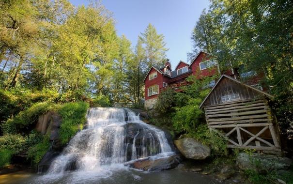 Фото обои деревья, дом, водопад