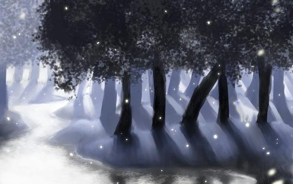 Фото обои деревья, природа, озеро, арт