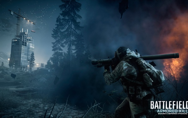 Фото обои лес, ночь, Battlefield 3, premium, armored kill, инженер рф