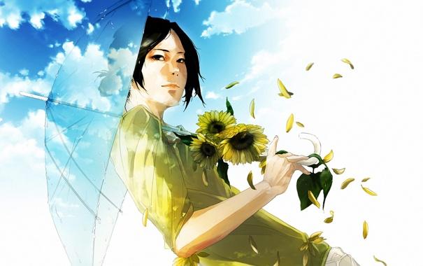 Фото обои девушка, цветы, зонт, арт, re°