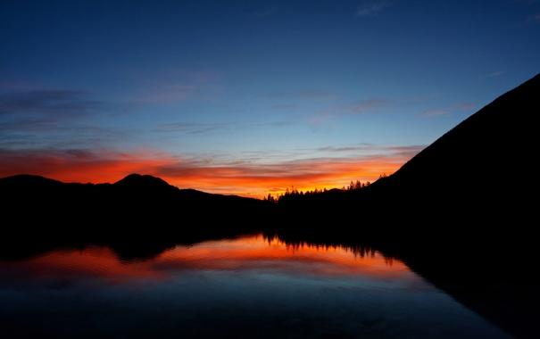 Фото обои закат, лес, горы, heaven