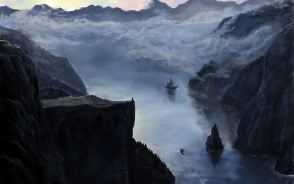Фото обои облака, пейзаж, горы, река, обрыв, скалы, человек
