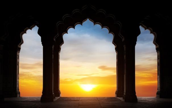 Фото обои небо, солнце, арки