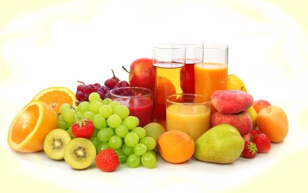 Фото обои ягоды, апельсин, киви, клубника, сок, виноград, груша