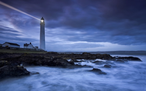 Фото обои море, берег, маяк, вечер, сумерки, учи