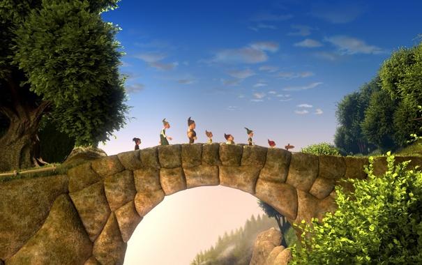 Фото обои деревья, мост, мультфильм, гномы, приключение, 7-ой гном, Der 7bte Zwerg