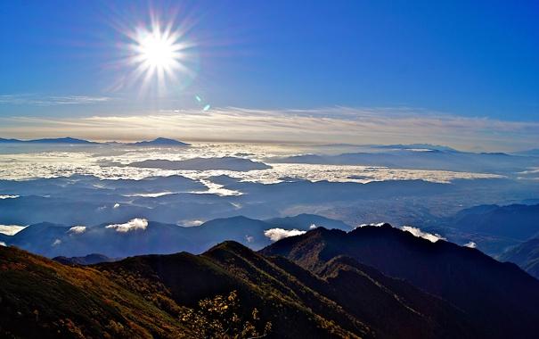 Фото обои солнце, облака, горы