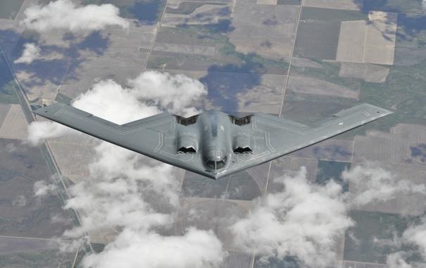Фото обои полет, земля, бомбардировщик, стратегический, малозаметный, B-2 Spirit, тяжёлый