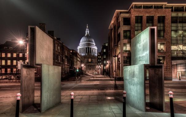 Фото обои ночь, Англия, Лондон, night, London, England, st pauls cathedral