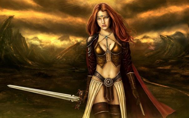Фото обои солнце, горы, тучи, Девушка, меч, доспехи, рыцарь