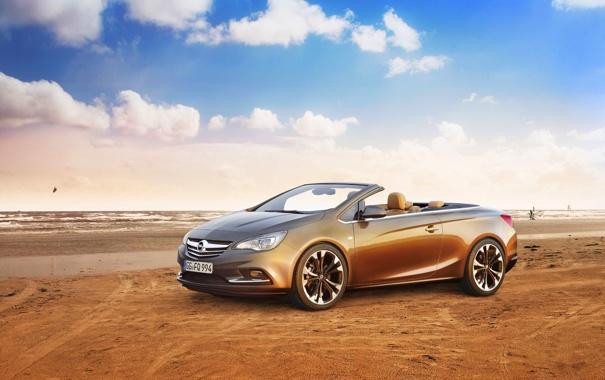 Фото обои небо, Песок, Море, Авто, Опель, День, Opel