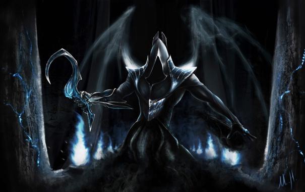 Фото обои ночь, арт, капюшон, Diablo 3, серп, Reaper of Souls