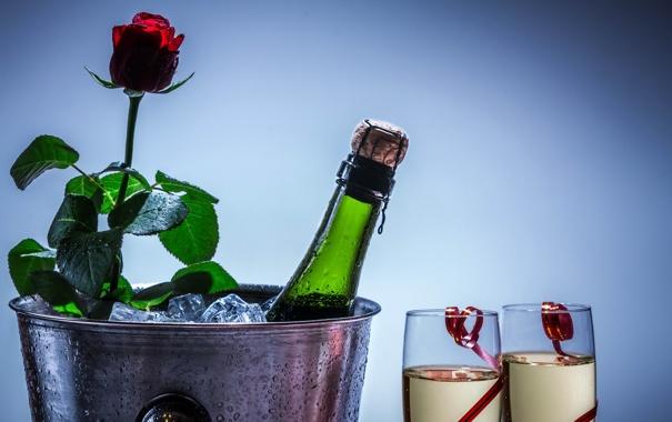 Фото обои фон, роза, шампанское