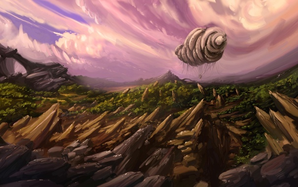 Фото обои облака, скалы, арт, дирижабль