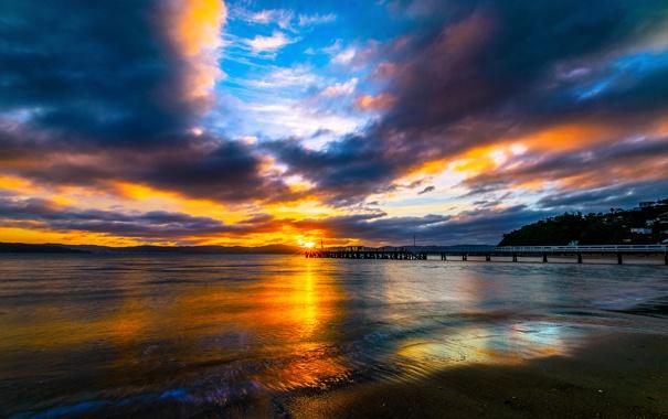 Фото обои море, закат, побережье, Новая Зеландия, пирс, Wellington