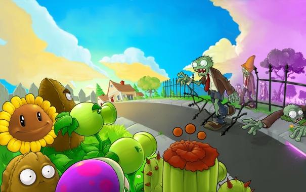Фото обои дорога, подсолнух, сад, кактус, картошка, Plants vs. Zombies, Растения против Зомби