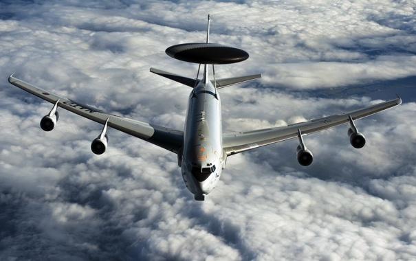 Фото обои небо, оружие, самолёт, E-3A (AWACS)