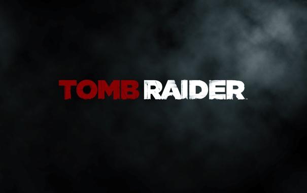 Фото обои фон, надпись, черный, Tomb Raider, game, дымок, 2013
