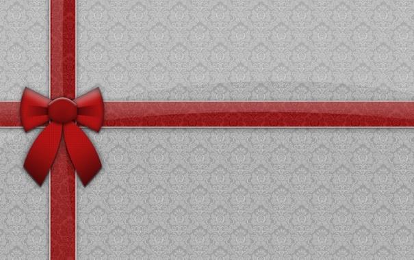 Фото обои праздник, новый год, текстура, лента, new year, красная, бантик
