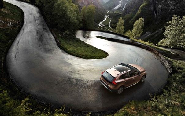 Фото обои Дорога, Volvo, Машина, Асфальт, Внедорожник, V40, В Движении